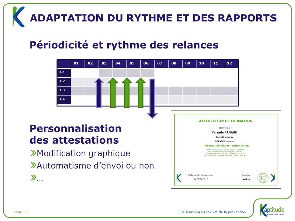Adaptation du rythme et des rapports