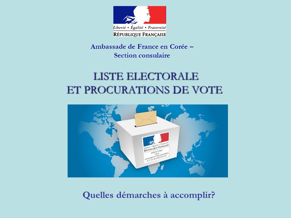 LISTE ELECTORALE ET PROCURATIONS DE VOTE