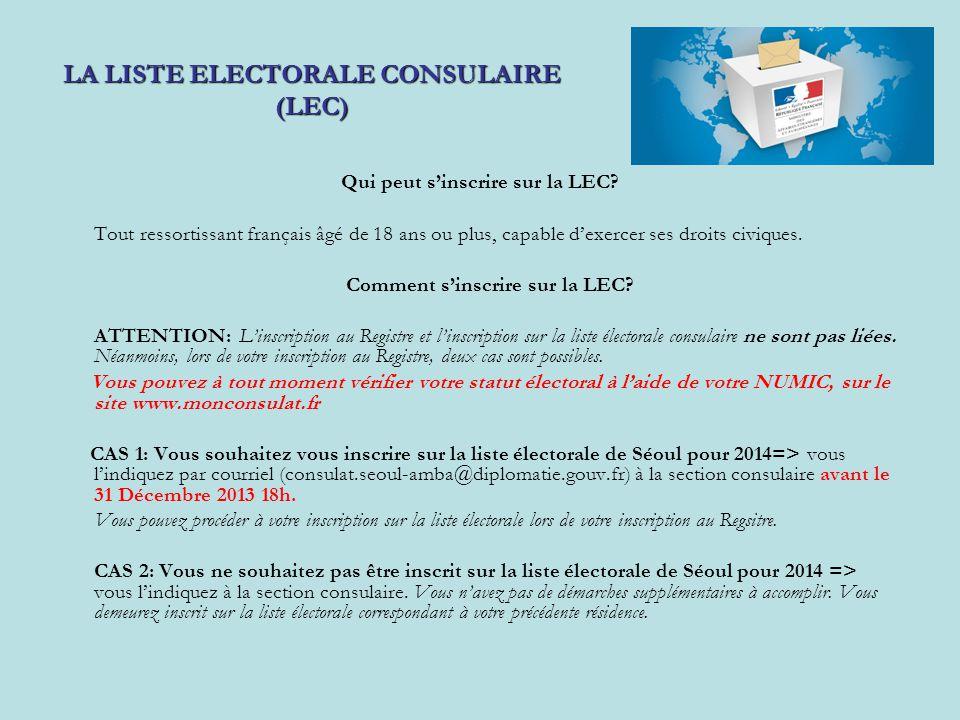 LA LISTE ELECTORALE CONSULAIRE (LEC)