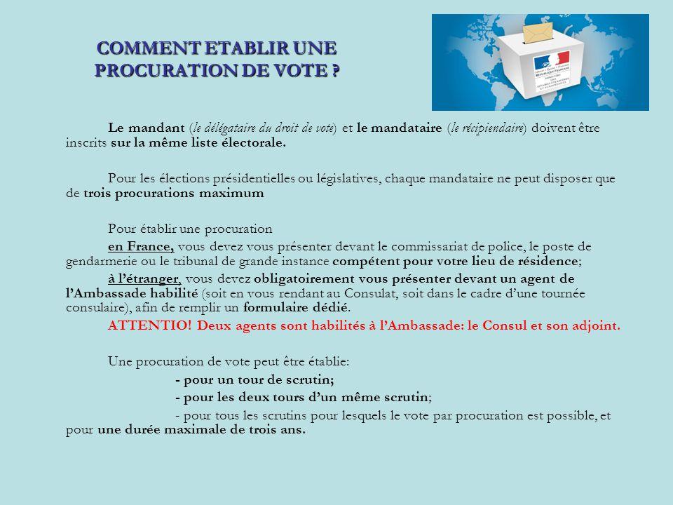 COMMENT ETABLIR UNE PROCURATION DE VOTE