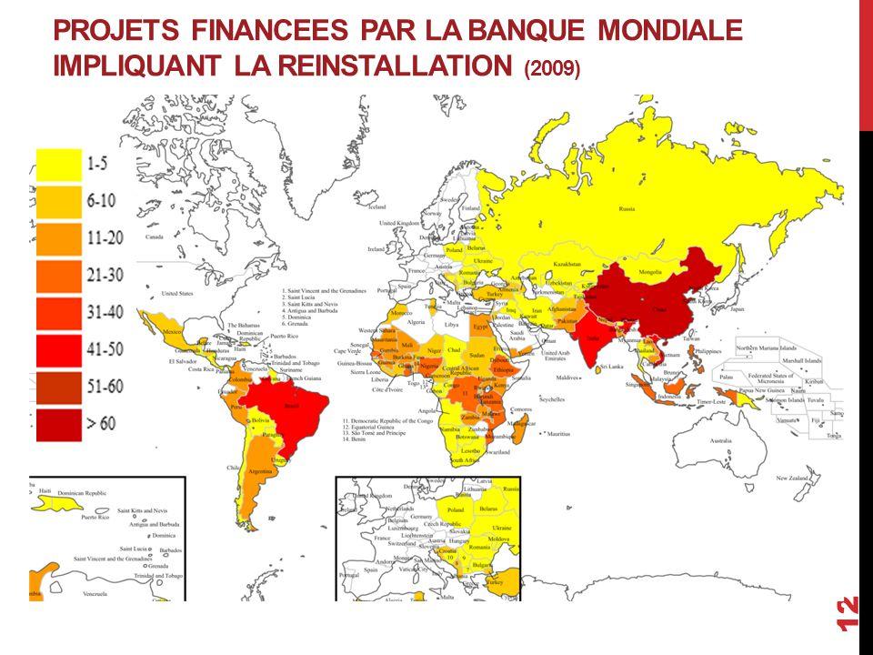 PROJETS FINANCEES PAR LA BANQUE MONDIALE IMPLIQUANT LA REINSTALLATION (2009)