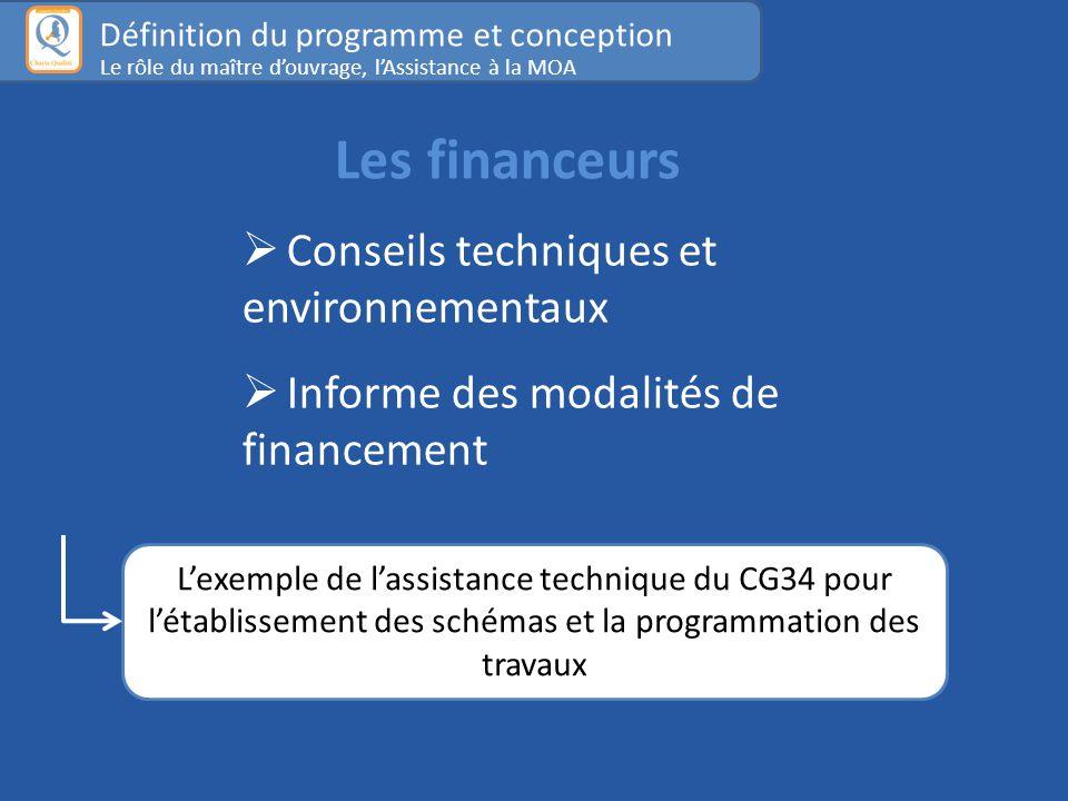 Les financeurs Conseils techniques et environnementaux