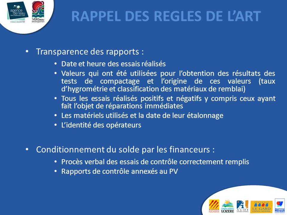 RAPPEL DES REGLES DE L'ART