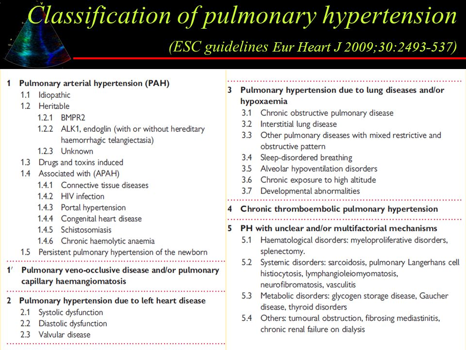 Classification of pulmonary hypertension (ESC guidelines Eur Heart J 2009;30:2493-537)
