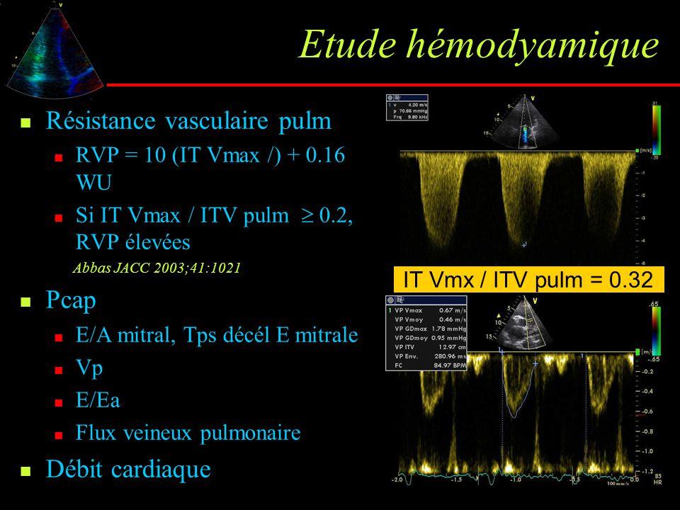 Etude hémodyamique Résistance vasculaire pulm Pcap Débit cardiaque