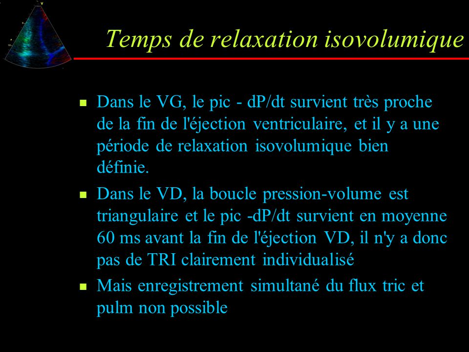 Temps de relaxation isovolumique