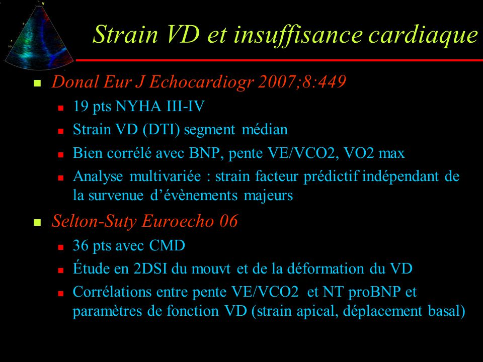 Strain VD et insuffisance cardiaque