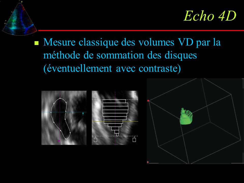 Echo 4D Mesure classique des volumes VD par la méthode de sommation des disques (éventuellement avec contraste)