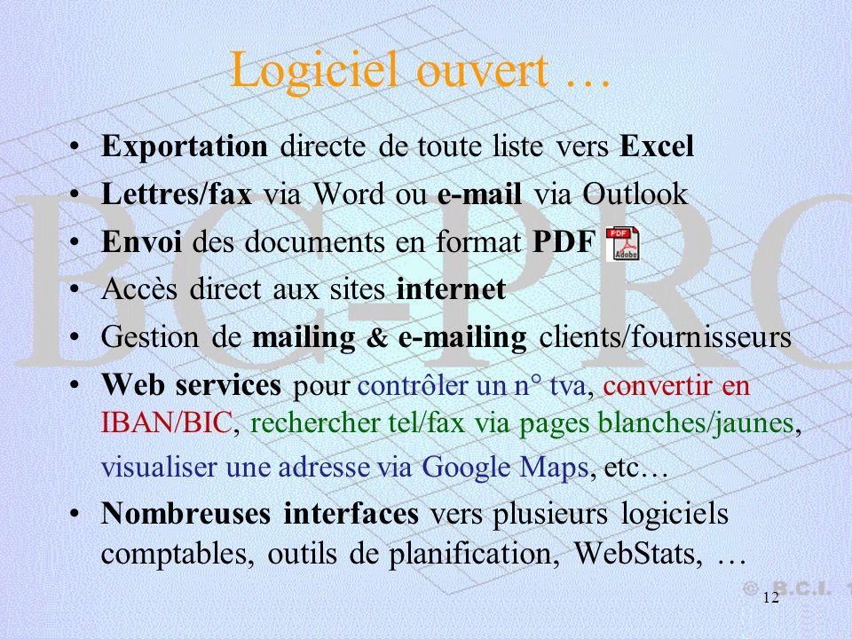 Logiciel ouvert … Exportation directe de toute liste vers Excel