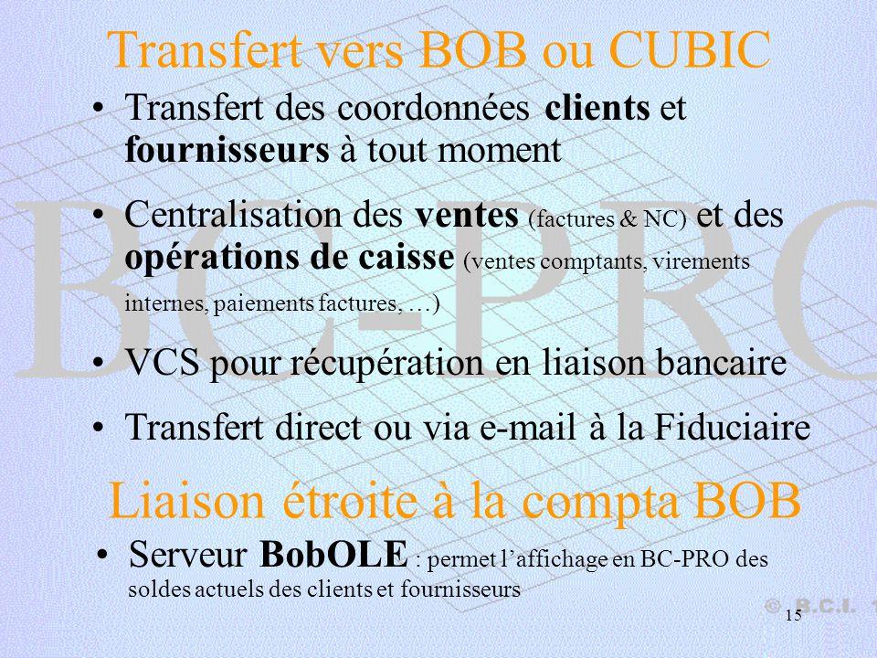 Transfert vers BOB ou CUBIC