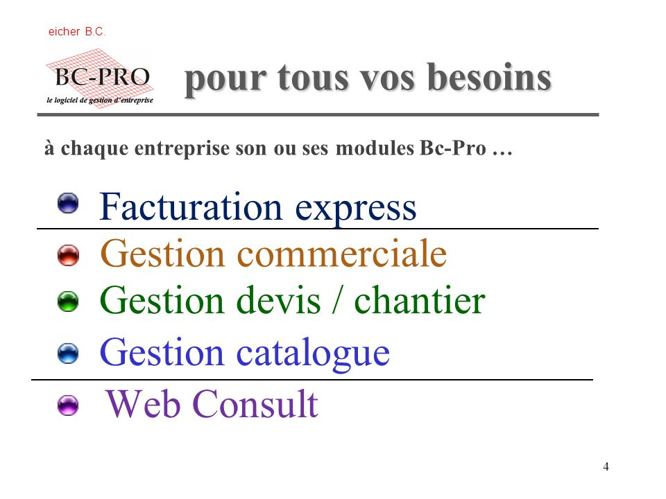 Gestion devis / chantier Gestion catalogue Web Consult