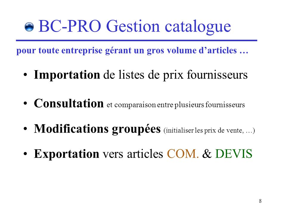 BC-PRO Gestion catalogue