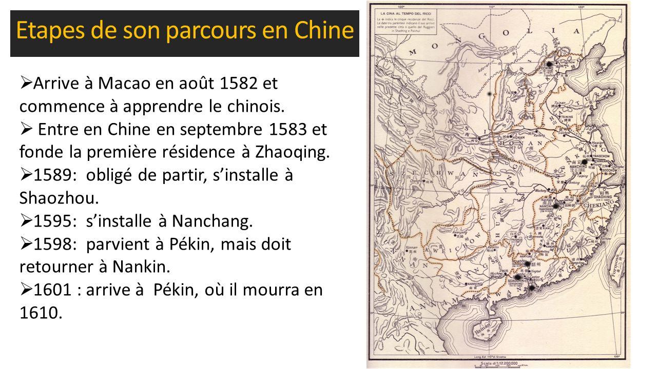 Etapes de son parcours en Chine