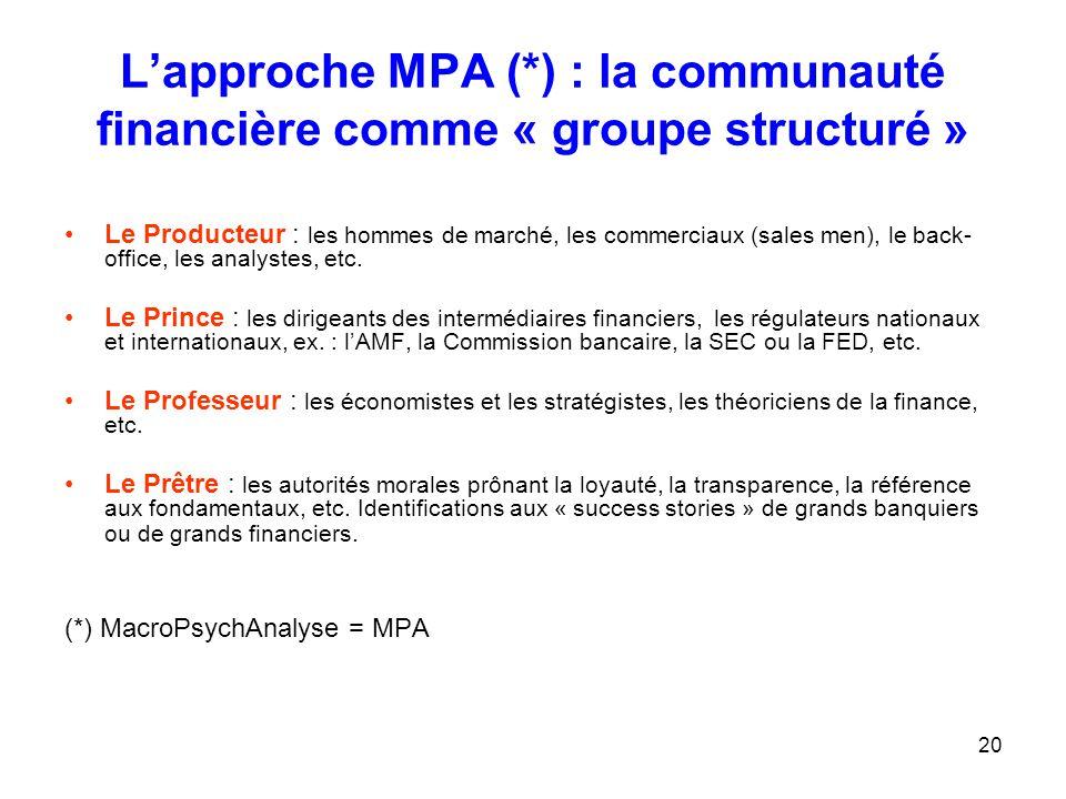 L'approche MPA (*) : la communauté financière comme « groupe structuré »