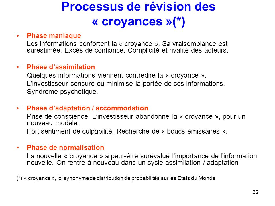 Processus de révision des « croyances »(*)