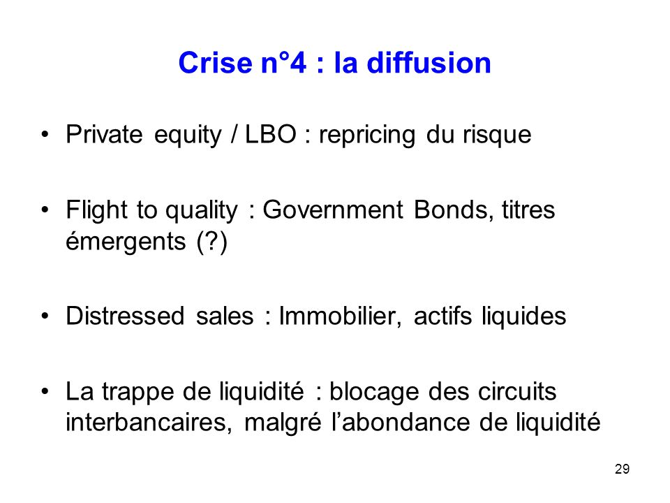 Crise n°4 : la diffusion Private equity / LBO : repricing du risque