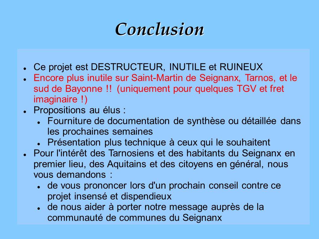 Conclusion Ce projet est DESTRUCTEUR, INUTILE et RUINEUX