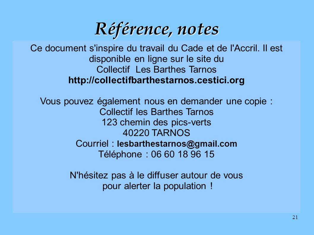 Référence, notes Ce document s inspire du travail du Cade et de l Accril. Il est disponible en ligne sur le site du.