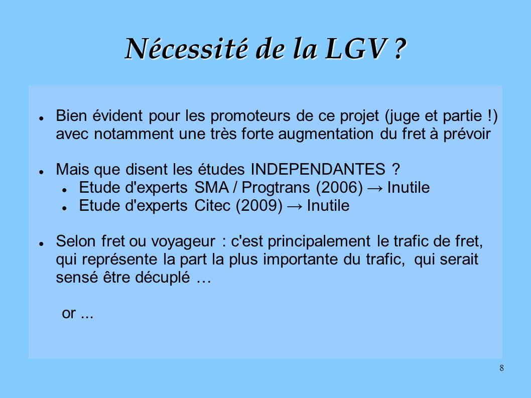 Nécessité de la LGV Bien évident pour les promoteurs de ce projet (juge et partie !) avec notamment une très forte augmentation du fret à prévoir.