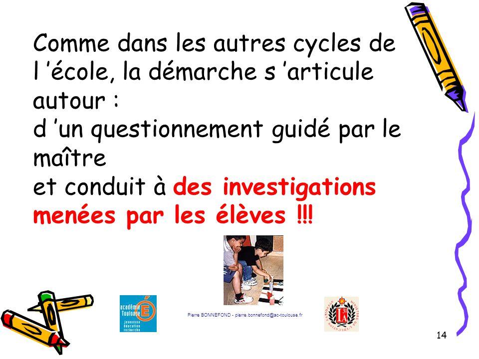 Comme dans les autres cycles de l 'école, la démarche s 'articule autour : d 'un questionnement guidé par le maître et conduit à des investigations menées par les élèves !!!
