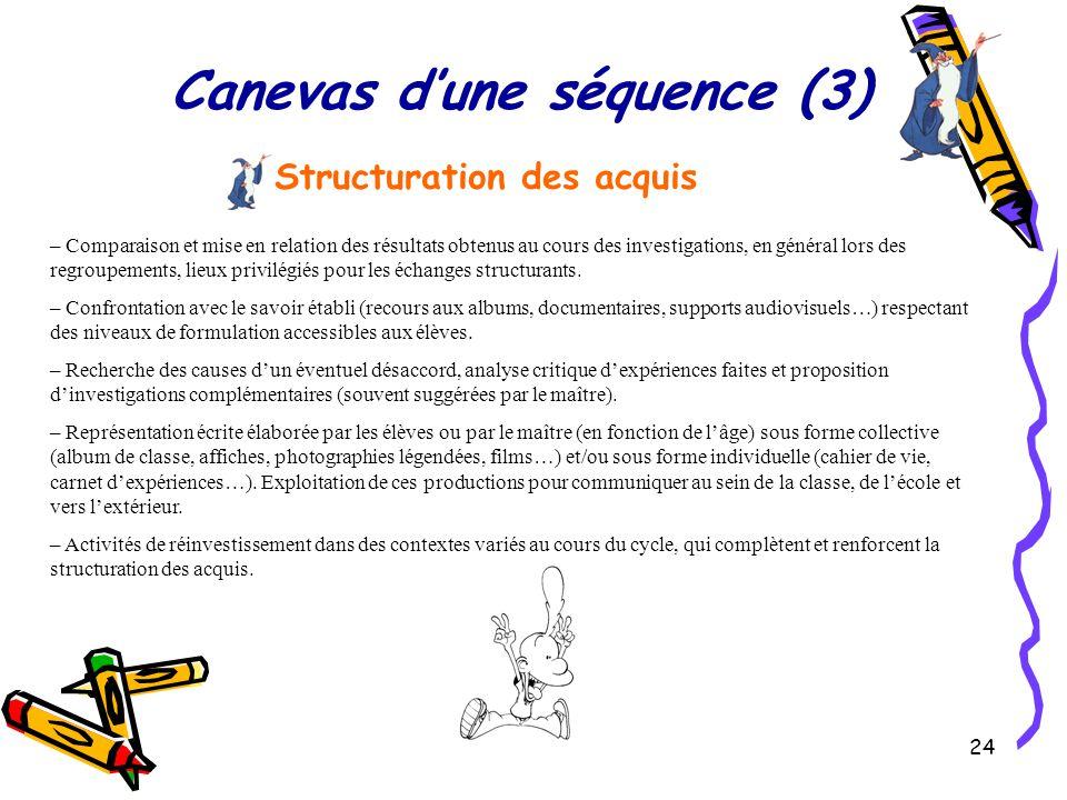 Canevas d'une séquence (3)