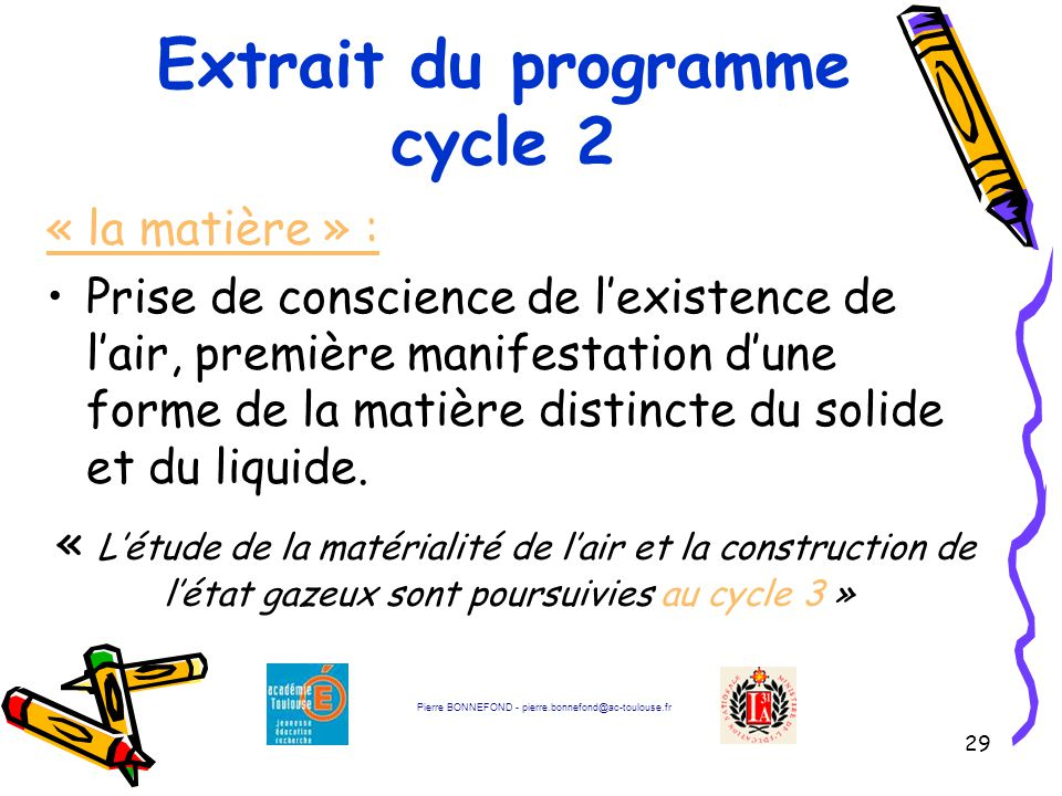 Extrait du programme cycle 2