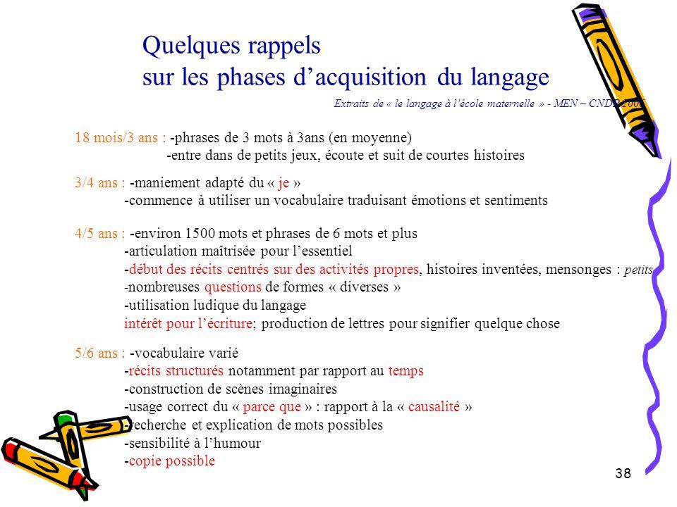 sur les phases d'acquisition du langage