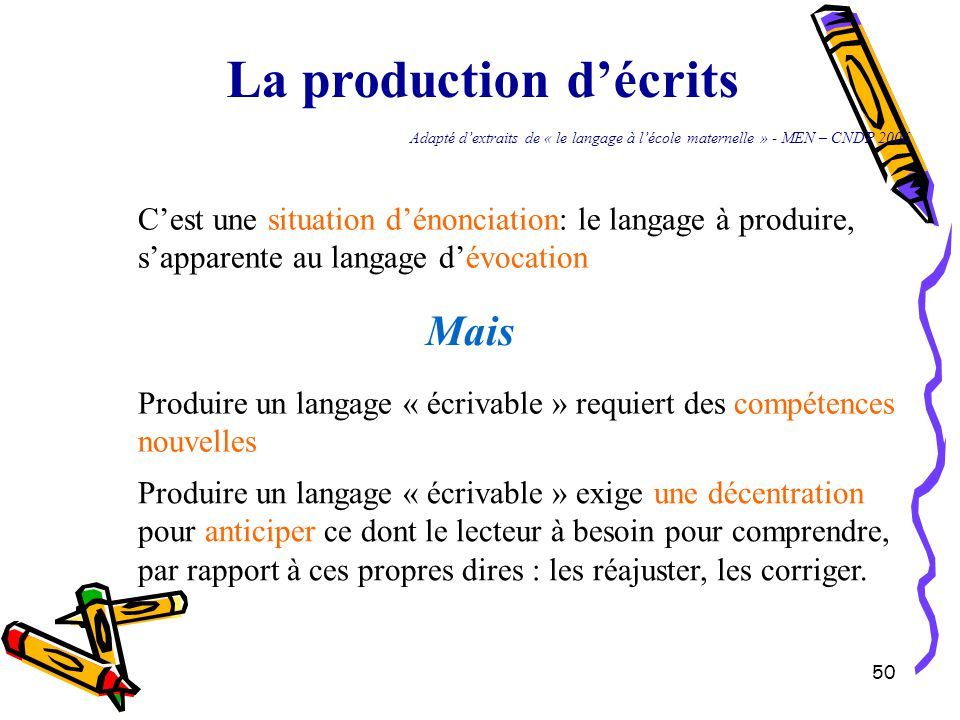 La production d'écrits