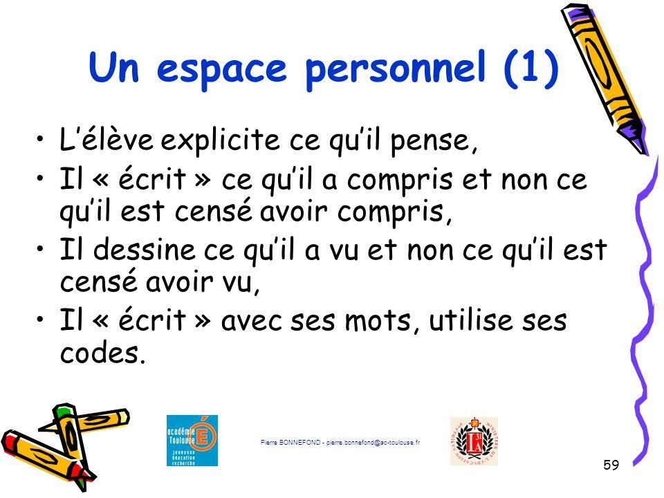 Un espace personnel (1) L'élève explicite ce qu'il pense,