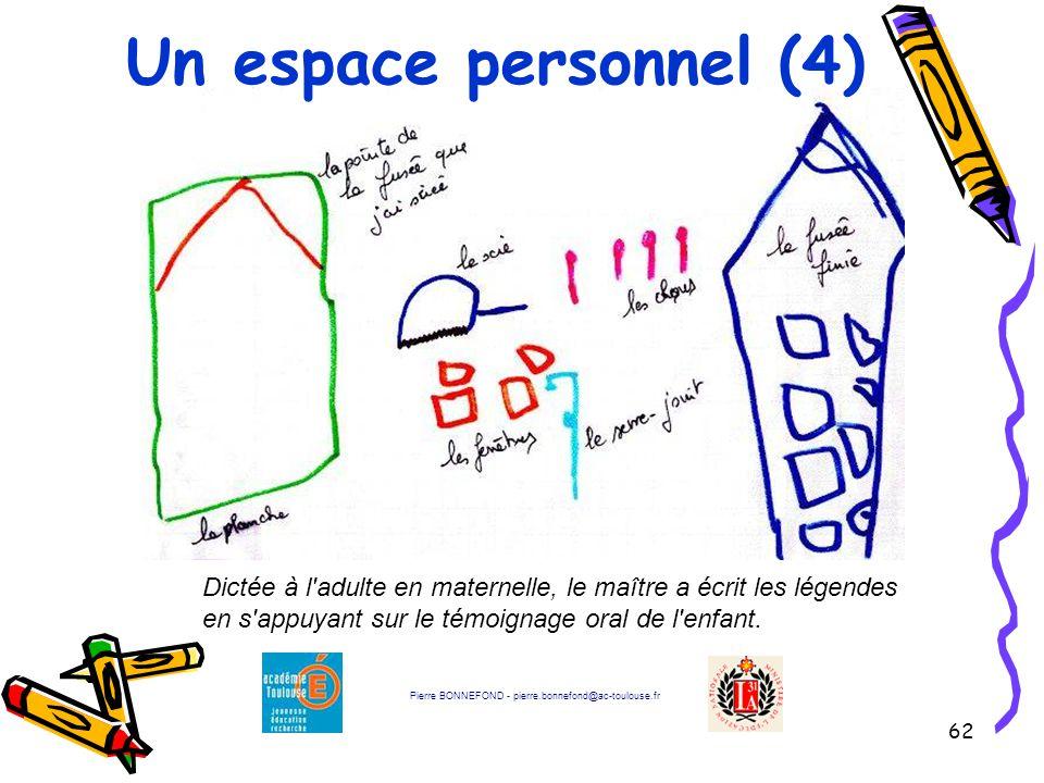 Un espace personnel (4) Dictée à l adulte en maternelle, le maître a écrit les légendes en s appuyant sur le témoignage oral de l enfant.