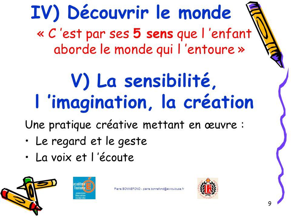 V) La sensibilité, l 'imagination, la création