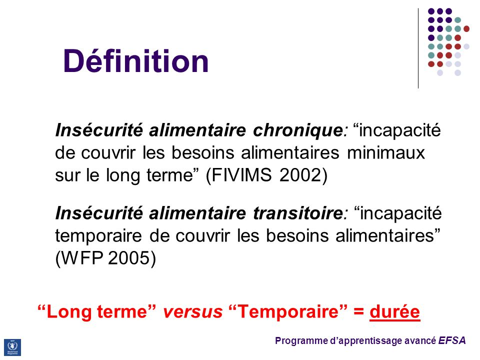 Définition Insécurité alimentaire chronique: incapacité de couvrir les besoins alimentaires minimaux sur le long terme (FIVIMS 2002)