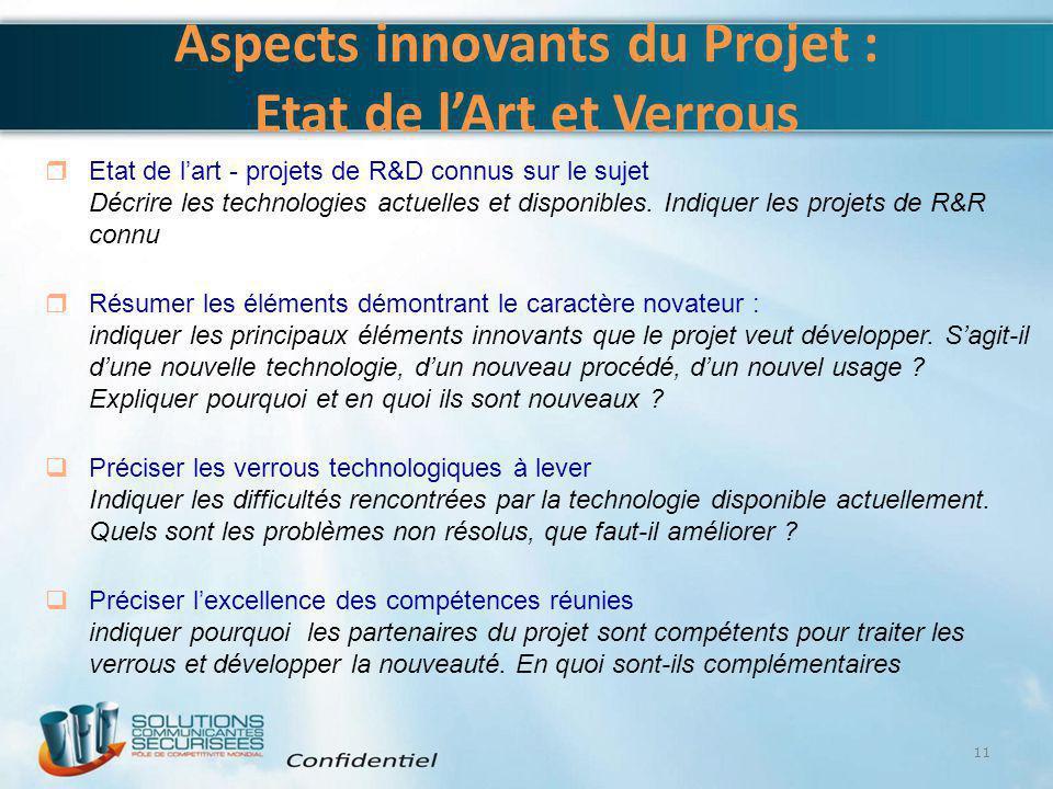 Aspects innovants du Projet : Etat de l'Art et Verrous