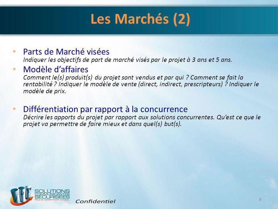 4/6/2017 Les Marchés (2) Parts de Marché visées Indiquer les objectifs de part de marché visés par le projet à 3 ans et 5 ans.