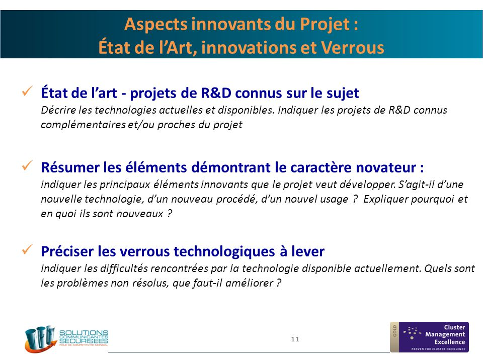 Aspects innovants du Projet : État de l'Art, innovations et Verrous