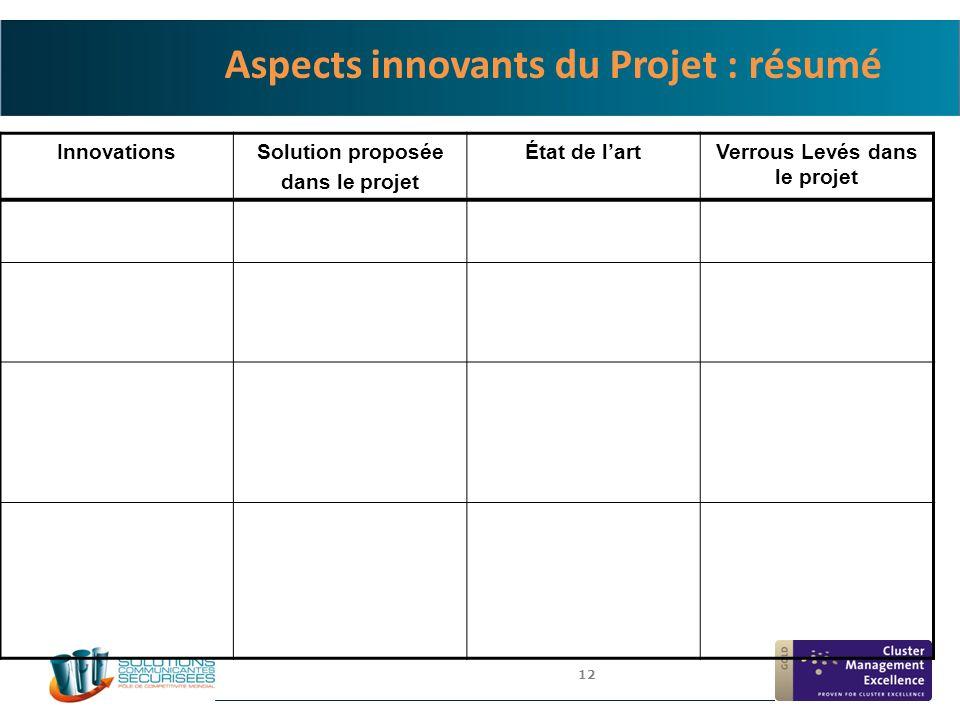 Aspects innovants du Projet : résumé