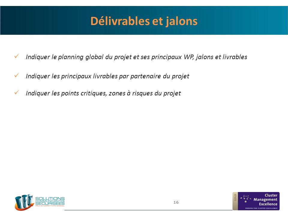 4/6/2017 Délivrables et jalons. Indiquer le planning global du projet et ses principaux WP, jalons et livrables.