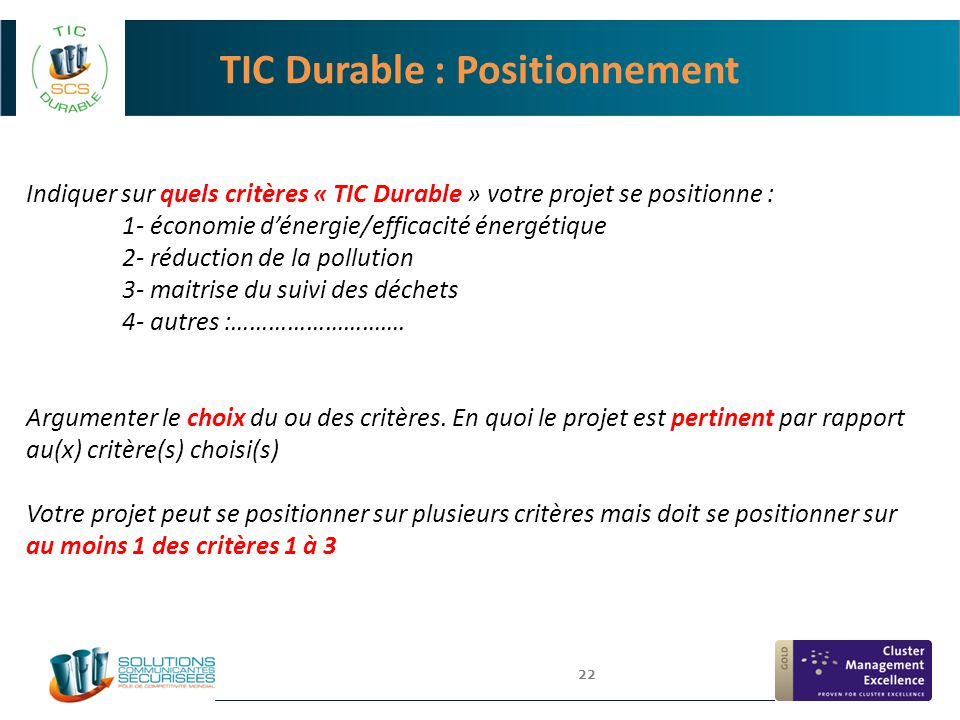 TIC Durable : Positionnement