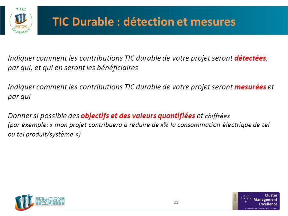 TIC Durable : détection et mesures