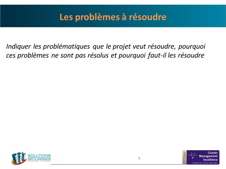 Les problèmes à résoudre