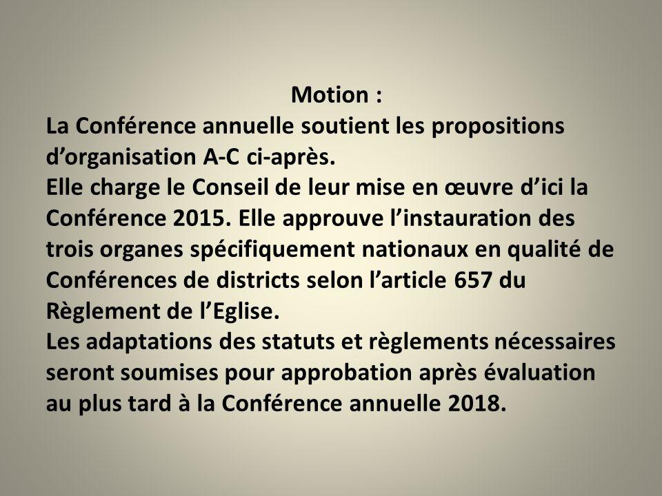 Motion : La Conférence annuelle soutient les propositions d'organisation A-C ci-après.