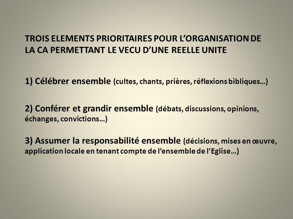 TROIS ELEMENTS PRIORITAIRES POUR L'ORGANISATION DE LA CA PERMETTANT LE VECU D'UNE REELLE UNITE
