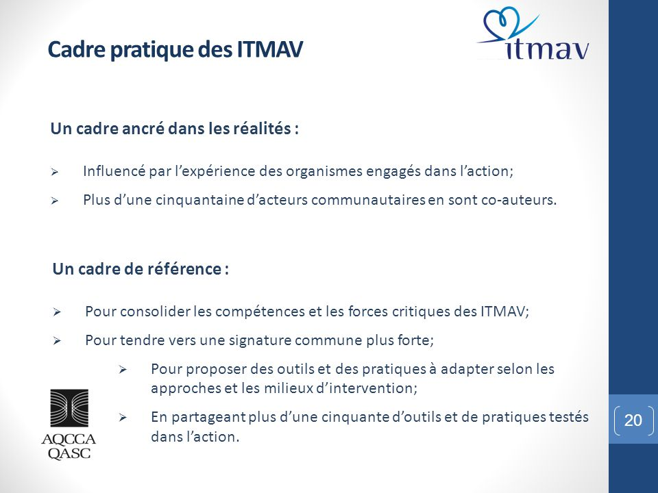 Cadre pratique des ITMAV