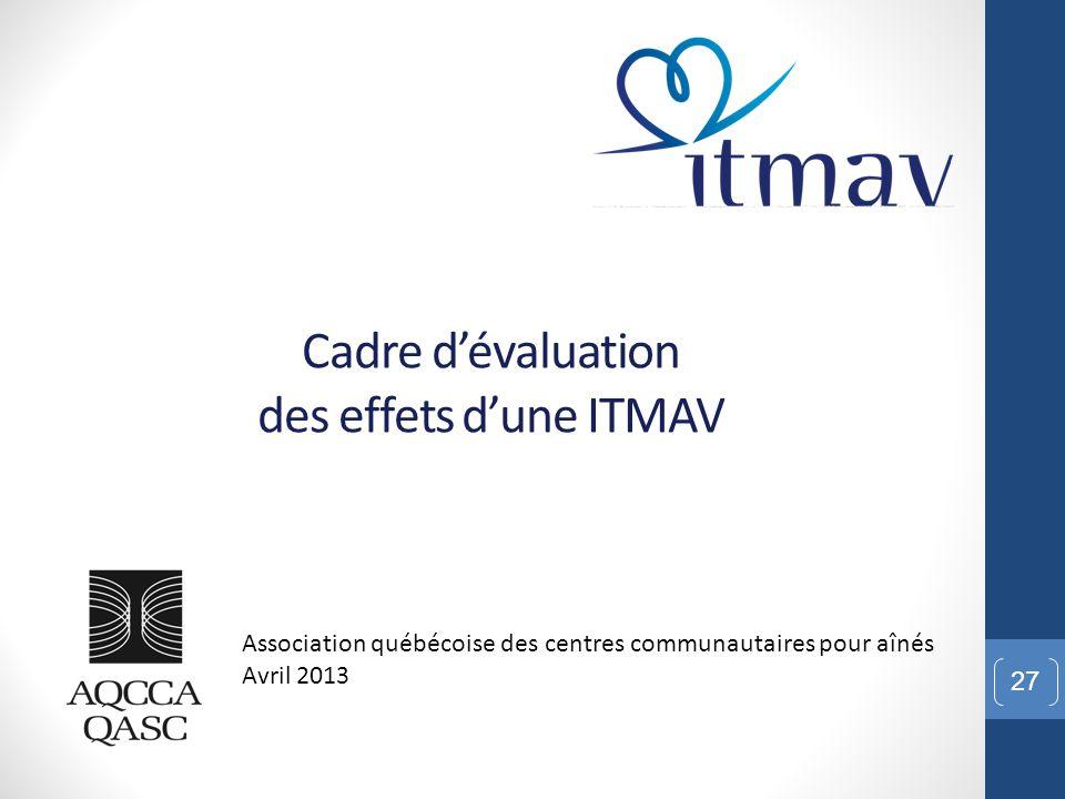 Cadre d'évaluation des effets d'une ITMAV