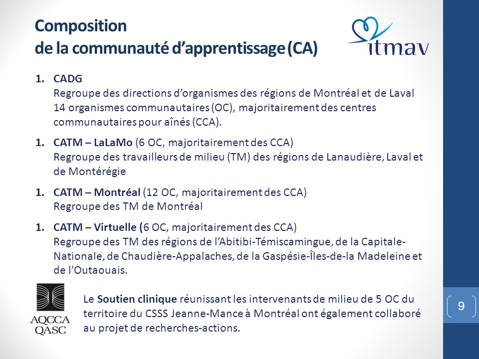 Composition de la communauté d'apprentissage (CA)