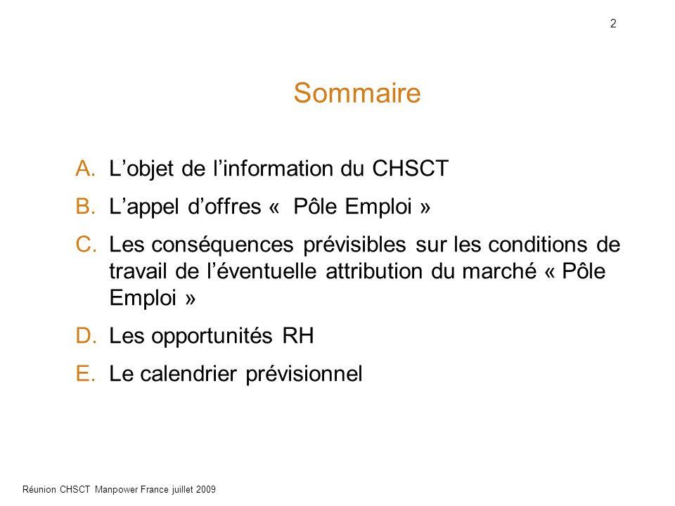 Sommaire L'objet de l'information du CHSCT