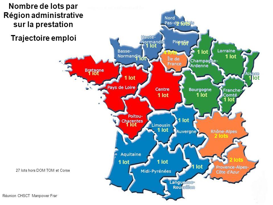 Nombre de lots par Région administrative sur la prestation