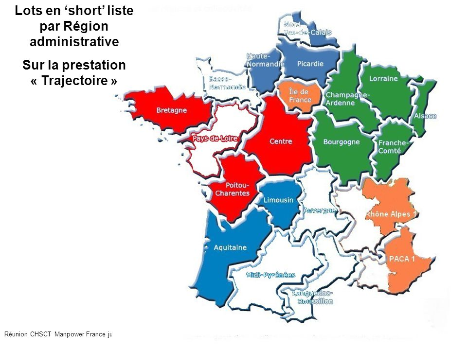 Lots en 'short' liste par Région administrative