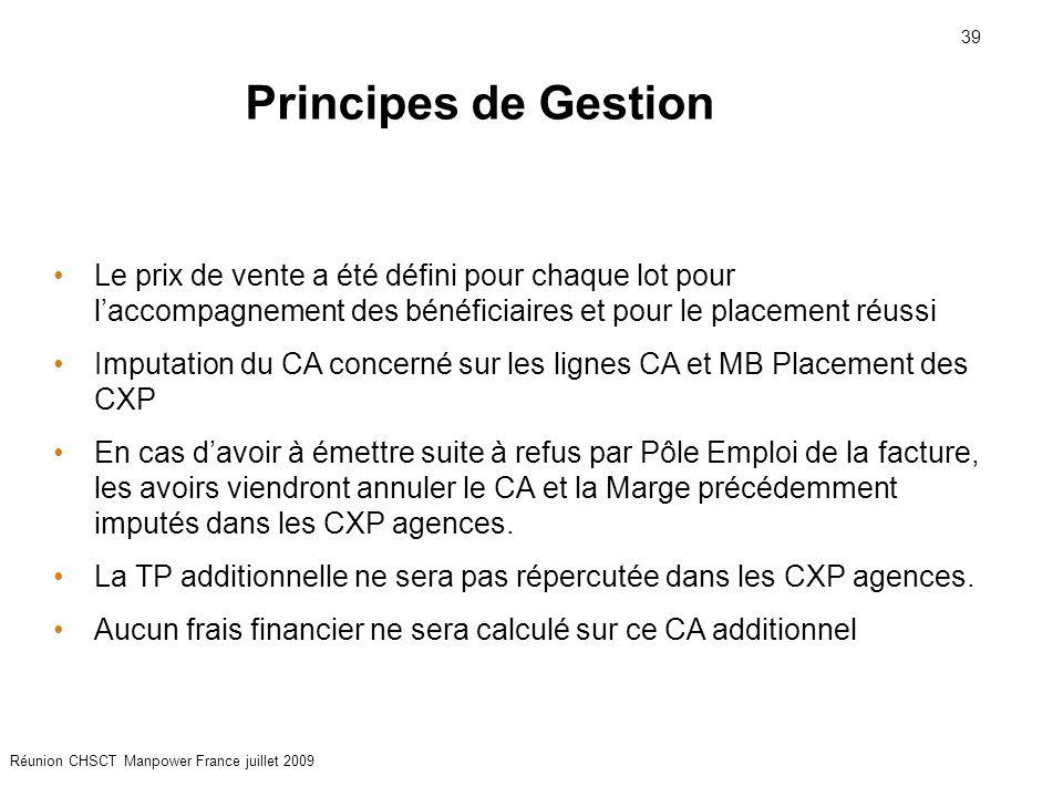 Principes de Gestion Le prix de vente a été défini pour chaque lot pour l'accompagnement des bénéficiaires et pour le placement réussi.