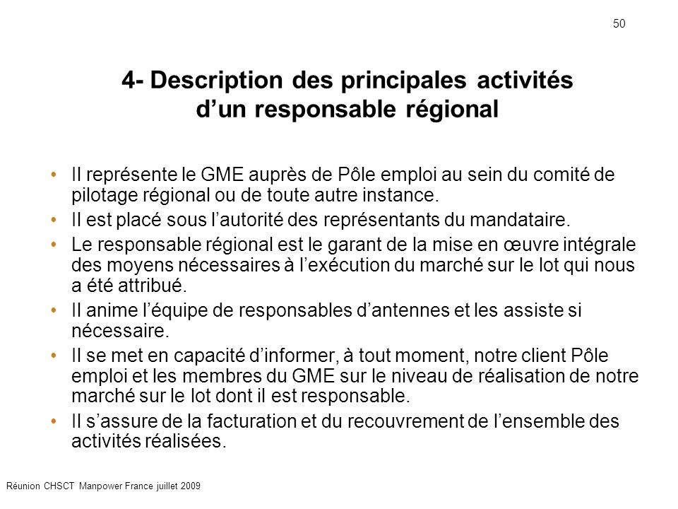 4- Description des principales activités d'un responsable régional